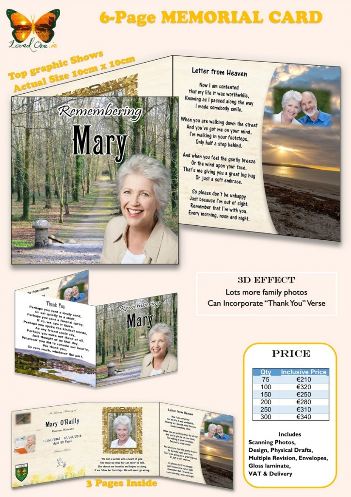 Loved One Pricelist 6-page Memorial Card 2016 V1